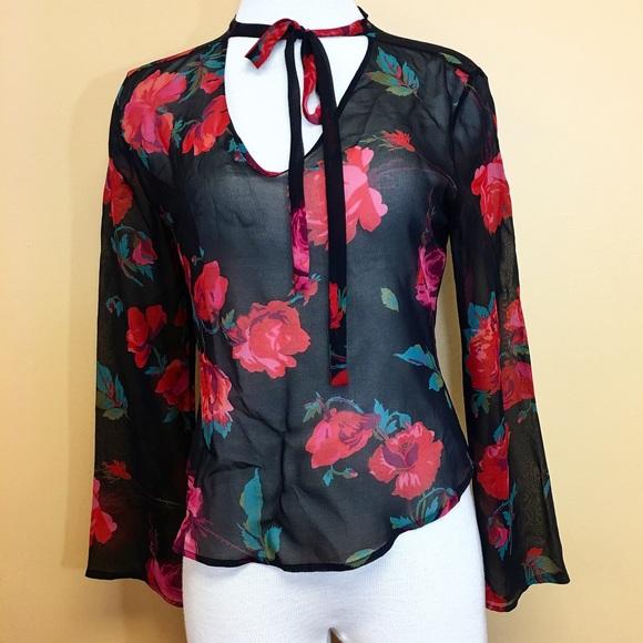 Express Tops - Vintage Express 100% Silk Sheer Floral Blouse